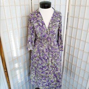 Boden V Neck Faux Wrap Dress Burst Print
